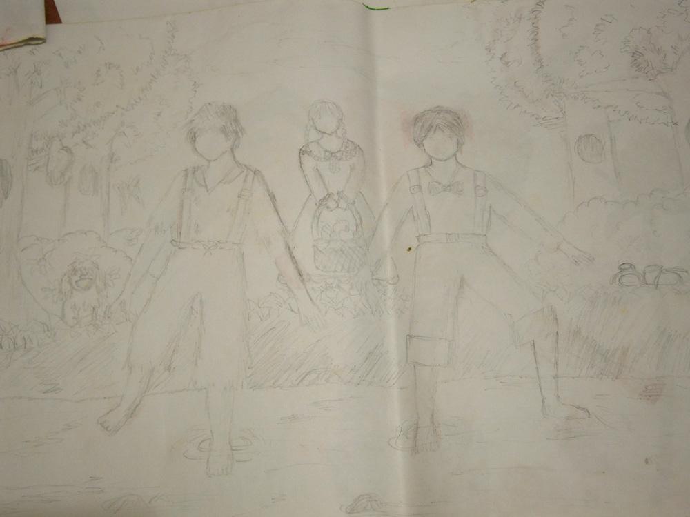 Faceless sketch of Huckleberry Finn and Tom Sawyer