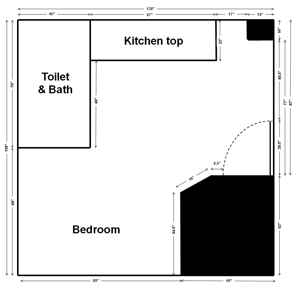Floor plan of the studio apartment