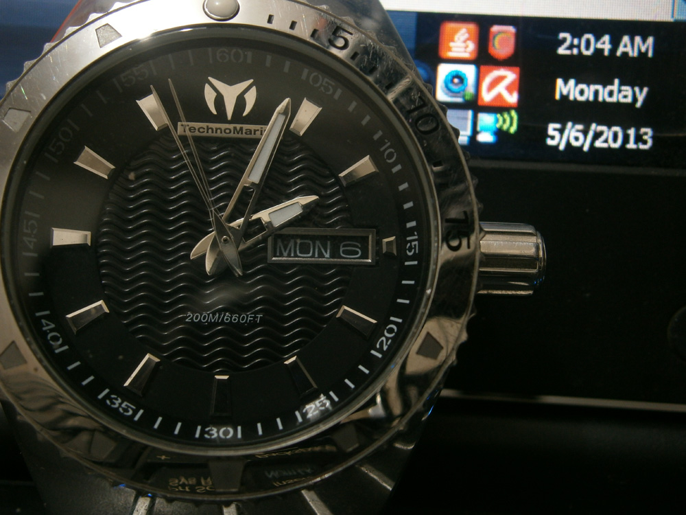 For the first time ever, the watch reflects the correct day and date - Technomarine watch