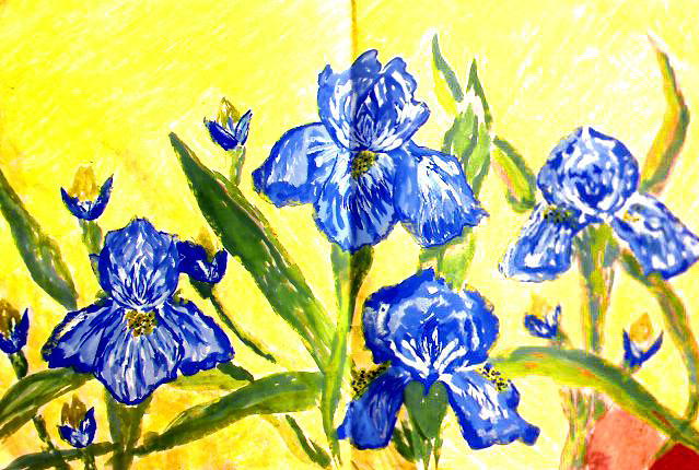 My beloved poster paint 'Irises' painting from thirteen years ago