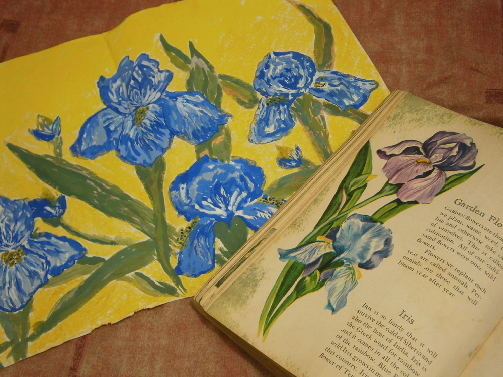 My colorblind interpretation of irises --- I had copied the wrong color from a children's book