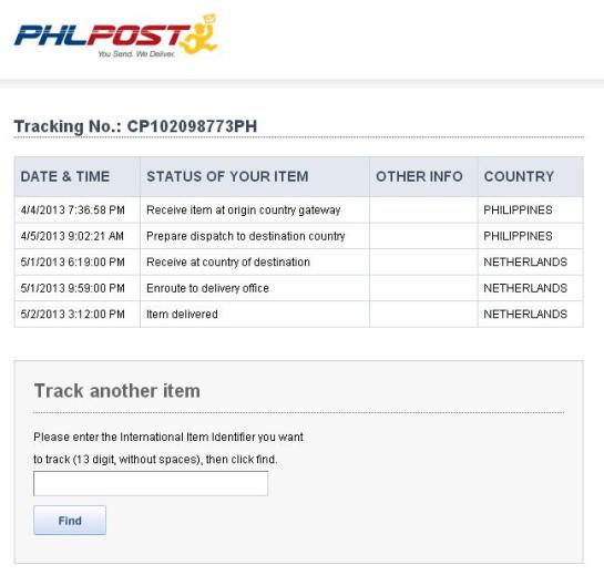 PhilPost tracking showing delivery to Netherlands