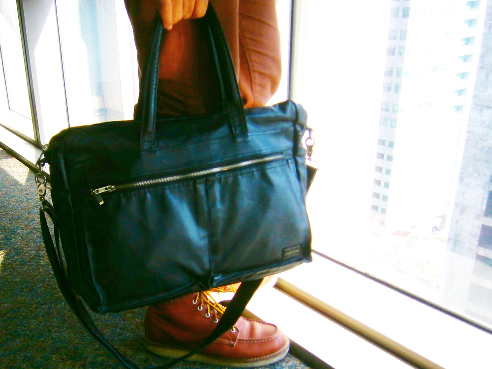 Porter by Yoshida Company briefcase messenger bag and Red Wing 8875 boots