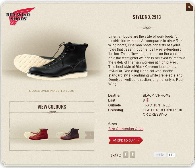 Red Wing 2913 boots from the Red Wing Singapore website