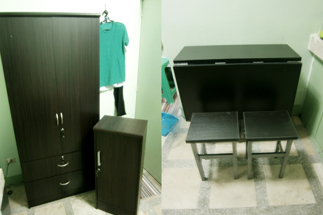 All wenge - our new closet, folding table and make-shift nightstand-slash-drawer from Paco, Manila