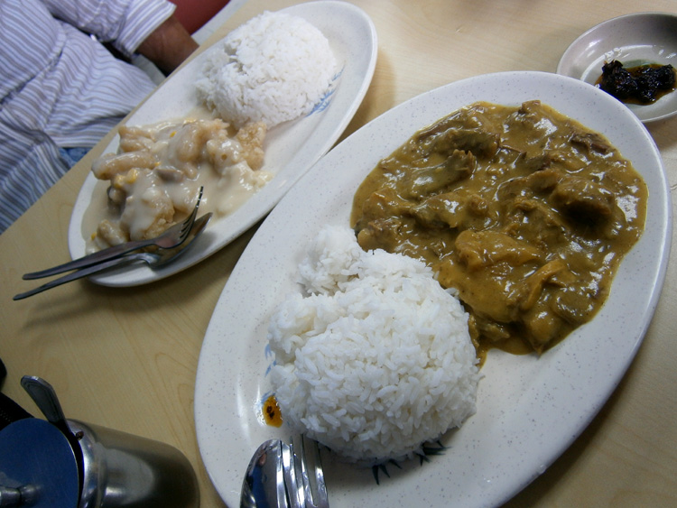 Curry beef brisket and fish fillet from Wai Ying