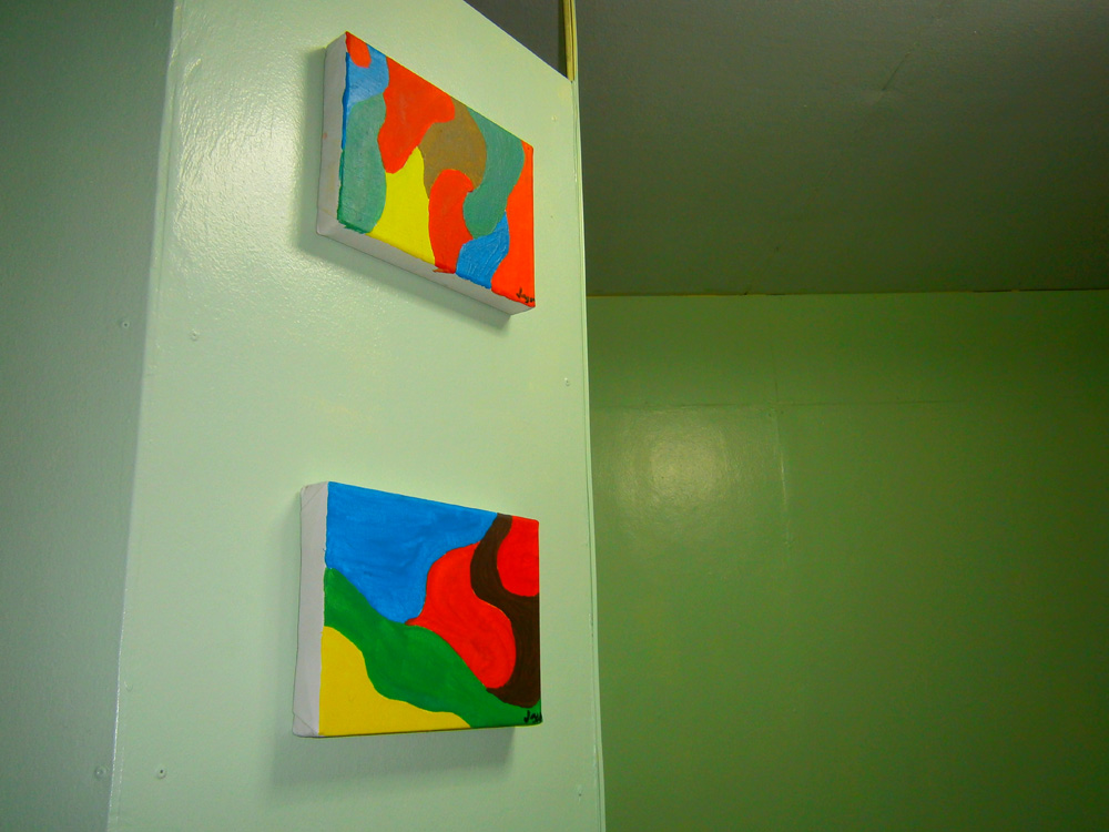 Mon had fun with acrylic paints and blank canvases, and came up with this colorful pair of abstract paintings
