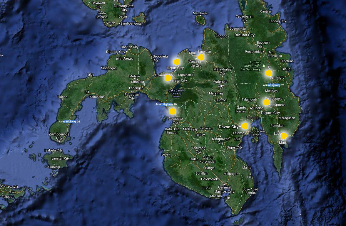 Places we will visit in Mindanao