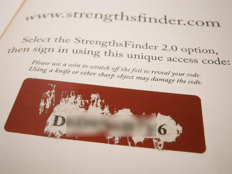 Strengths Finder's unique access code