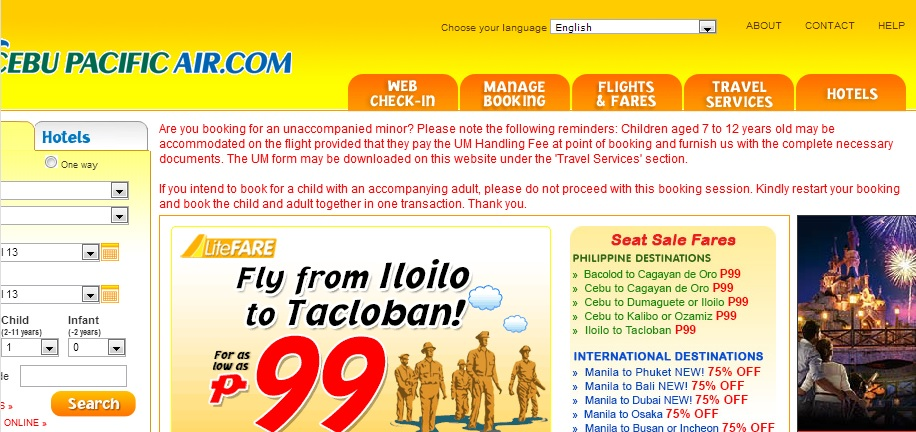 Booking for a child in Cebu Pacific