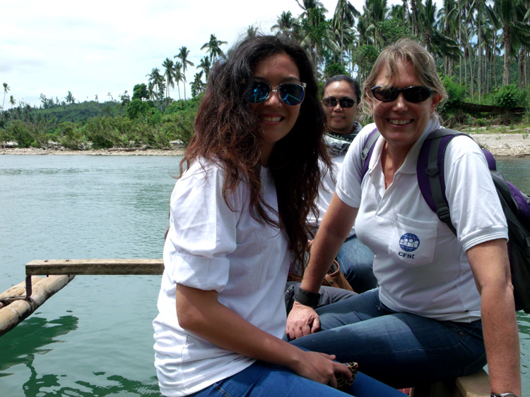 Crossing the river to reach Barangay Maglahus in Cateel