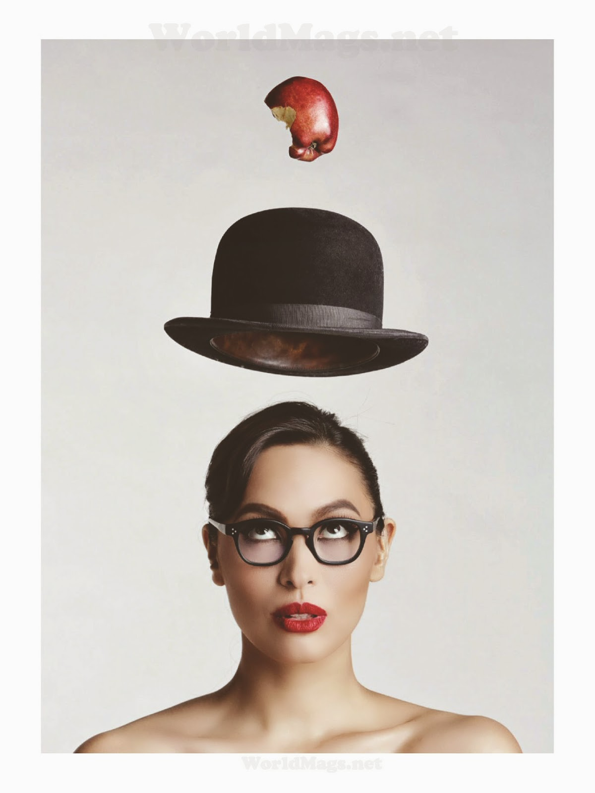 A shot from Rogue Magazine with elements from Magritte