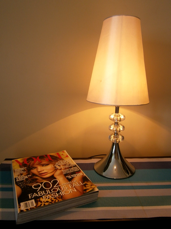 Same lamp, same folding table and same placemats