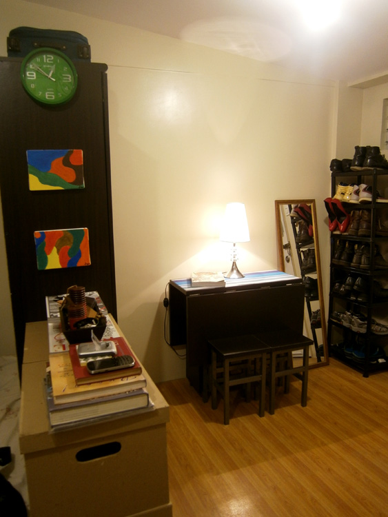 The first half of the studio apartment