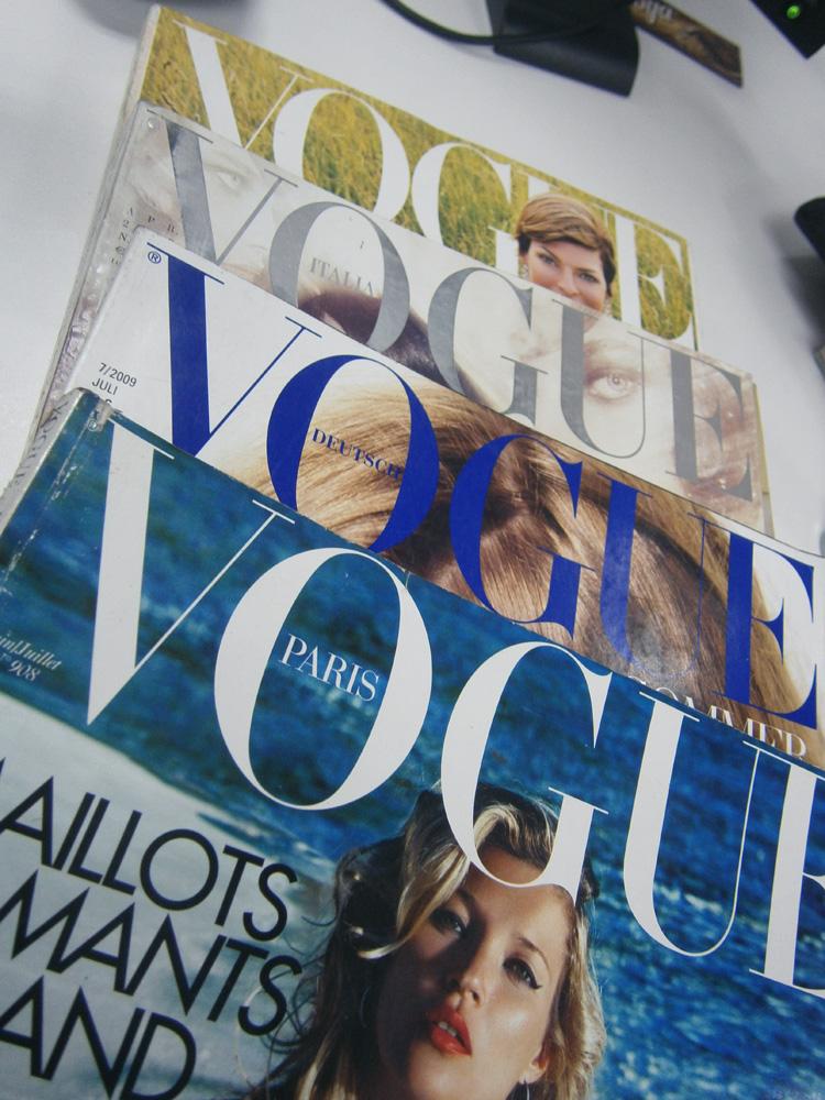US Vogue September 2001, Vogue Italia April 2008, Vogue Deutsch July 2009 and Vogue Paris June-July 2010