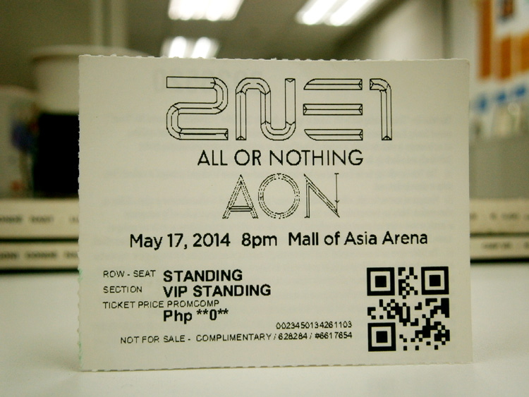 VIP tickets for 2NE1's All or Nothing concert @Php0! Thanks to Charm fabuleuse!