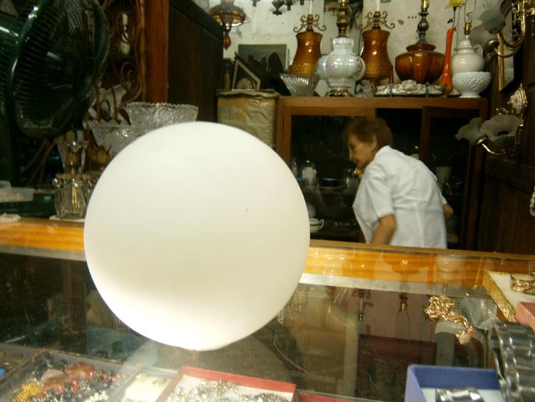 A round, glass diffuser