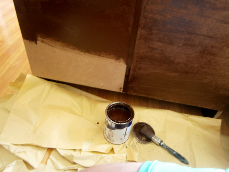 Painting the back of the cabinet