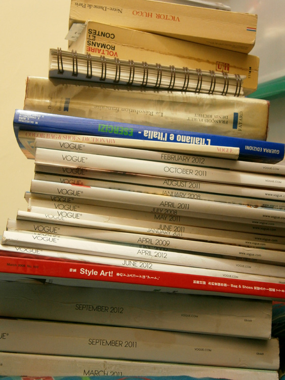 Language books and Vogue magazines