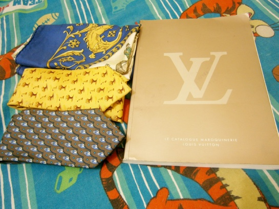 Look what I found - Hermes silk neckties, Hermes silk scarf and a Louis Vuitton catalog