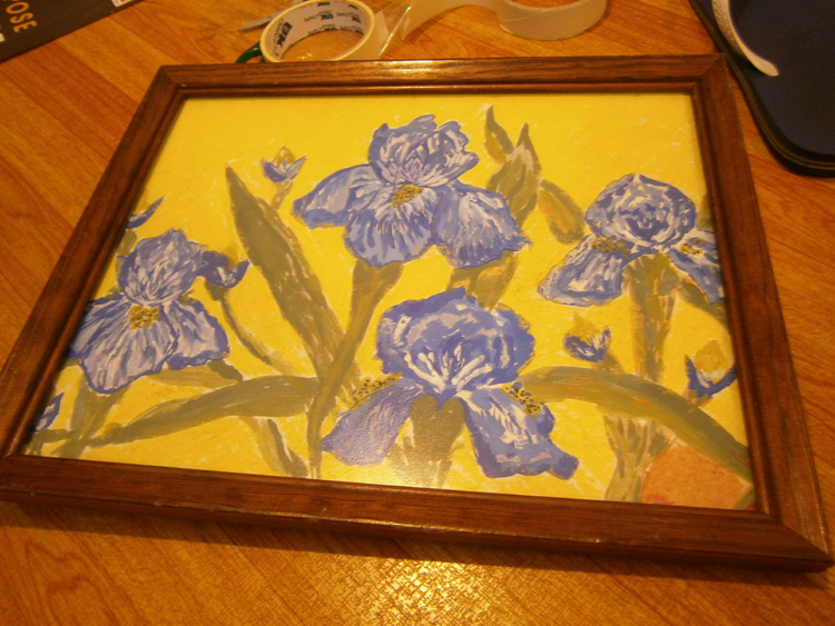 My irises painting finally framed