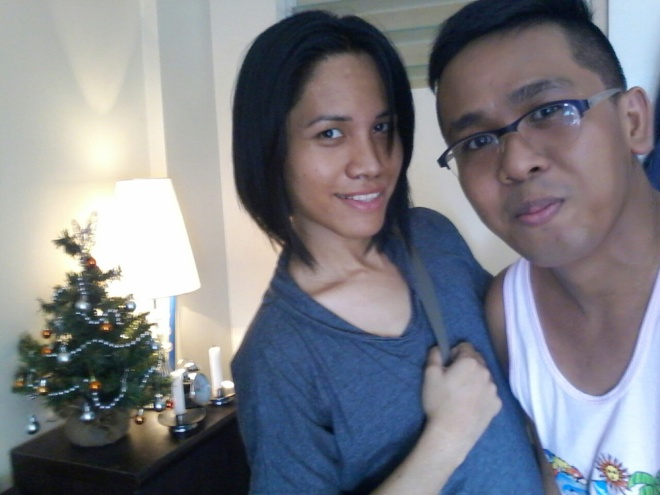 Before - Ikle and I. (We already have our miniature Christmas tree behind)