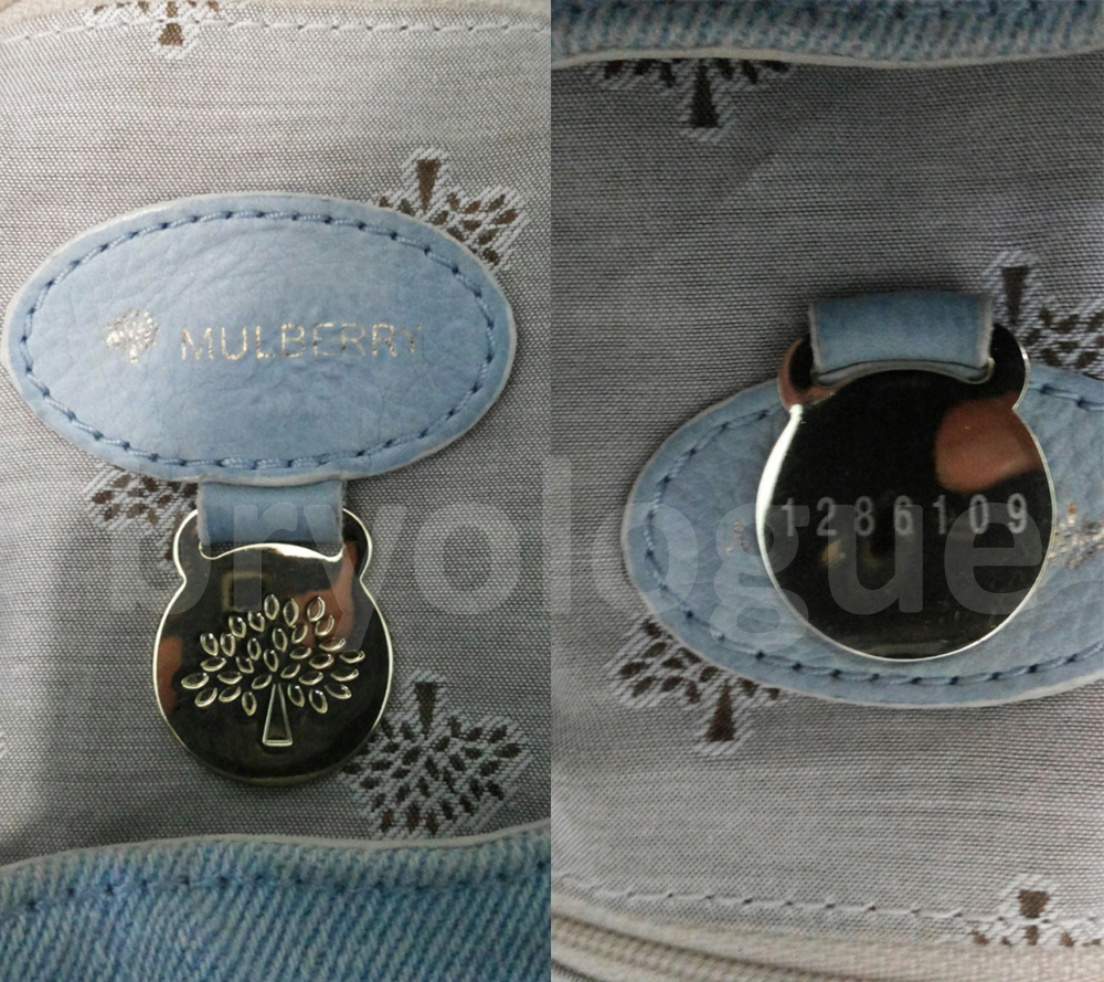Mulberry Tillie Washed Denim - fob and serial number